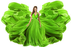 作为翼的时装模特儿挥动的礼服,妇女绿色褂子织品 库存照片