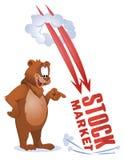 作为股市的滑稽的熊手表跌倒 库存图片