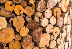 作为背景使用的堆被削减的木树桩日志纹理 免版税库存图片