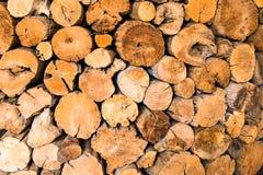 作为背景使用的堆被削减的木树桩日志纹理 库存图片