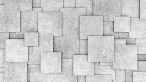 作为背景或墙纸的水泥3d立方体墙壁 免版税库存图片