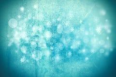 作为背景的冬天例证与雪剥落、雪和蓝色颜色树荫 免版税图库摄影