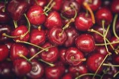 作为背景的成熟甜鲜美樱桃 免版税库存照片