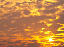 作为背景的日出金黄天空 免版税库存照片