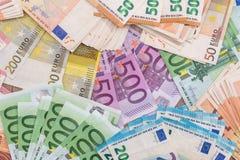 作为背景的欧洲钞票 图库摄影