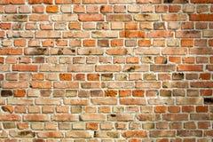 作为背景的老被风化的红砖墙壁 免版税库存图片