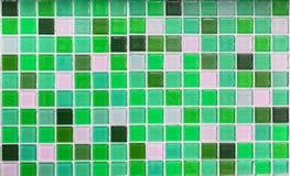 作为背景的绿色玻璃瓦片 免版税图库摄影