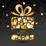 8作为背景看板卡日eps文件现在问候检验的另外的ai在空白待定救的华伦泰 有3d金心脏金刚石的,宝石,珠宝,弓丝带礼物盒 免版税库存图片