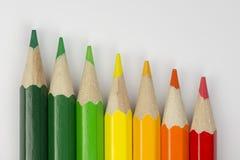 作为能量标签颜色的概念性蜡笔 库存照片