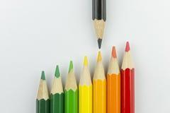 作为能量标签颜色的概念性蜡笔 免版税库存图片