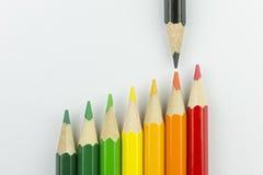 作为能量标签颜色的概念性蜡笔 免版税库存照片