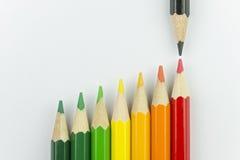 作为能量标签颜色的概念性蜡笔 图库摄影