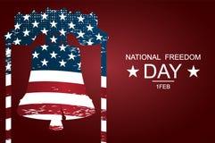 """作为自由和正义的标志的独立钟为全国自由天 海报或横幅†""""在全国自由天! 皇族释放例证"""