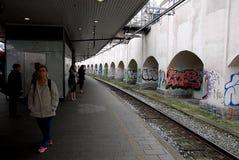 作为艺术或VANDALISIM的DENMARK_GRAFFITI 免版税库存照片