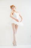 作为芭蕾舞女演员打扮的美丽的女孩。时尚构成。 免版税库存照片