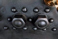 作为蒸汽引擎一部分的螺丝 图库摄影