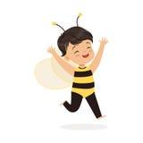 作为蜂打扮的逗人喜爱的愉快的小女孩,孩子狂欢节服装传染媒介例证 库存例证