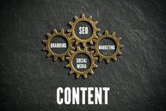 作为被连接的钝齿轮被象征的营销组分 免版税库存图片