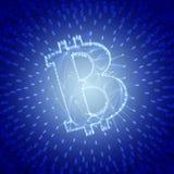 作为被建立的蓝色抽象Bitcoin标志交易在Blockchain概念性3d例证 免版税库存照片