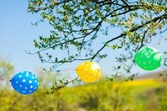 作为装饰的三个气球在游园会 免版税库存图片