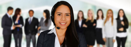 作为覆盖客户友好帮助有用的爱服务微笑对非常您的美丽的女实业家的天使 免版税库存图片