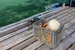 作为设备捕鱼伙计智慧 免版税库存照片