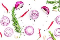 作为调味料的红洋葱圆环 在辣椒peper,迷迭香,黑peper,在白色背景顶视图的大蒜附近的葱 免版税库存照片