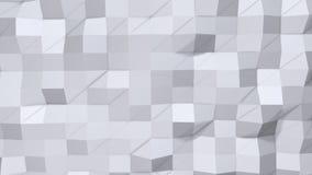 作为超现实的地形的简单的低多3D表面 纯净的白色灰色多角形软的几何低多背景  充分4K 库存例证