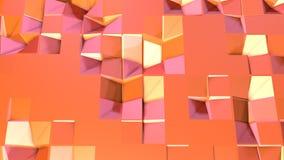 作为超现实的风景的简单的低多3D表面 转移纯净的桃红色桔子软的几何低多行动背景  库存例证