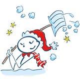 作为铲起在雪的圣诞老人的棍子形象 免版税库存图片