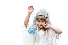 作为雪花打扮的小女孩 免版税库存图片