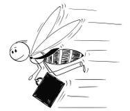 作为飞行勤勉蜂或蜜蜂被描述的商人动画片 皇族释放例证
