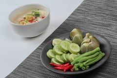 作为食谱的泰国有机食谱、椰奶和被发酵的大豆豆调味汁电话& x22; Toa Jiaw贷款J& x22;混杂的菜 库存图片