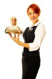 作为餐馆女服务员妇女 免版税库存照片