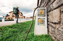 作为香客的单独男孩远足者在StSantiago途中,北部温泉走 库存图片
