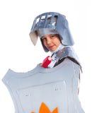 作为骑士打扮的男孩 免版税图库摄影