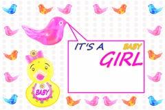 作为婴孩看板卡女孩理想的模板的声明到达 免版税库存照片