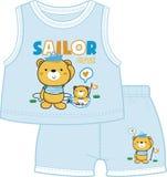 作为水手打扮的玩具熊双胞胎 皇族释放例证