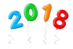 作为2018新年标志的多色气球 3d翻译 免版税库存照片