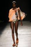 作为巴黎时尚星期一部分,模型走跑道在薇薇安・魏斯伍德展示期间 库存照片