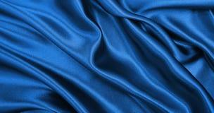 作为abstra的光滑的典雅的蓝色丝绸或缎豪华布料纹理 库存照片