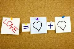 作为mathematica或者浪漫关系概念被提出的一个黄色稠粘的笔记柱子文字、说明、题字等式爱 图库摄影