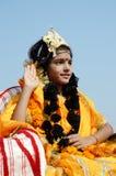 作为Rukmini打扮的女孩,克里希纳,印度阁下的妻子 图库摄影