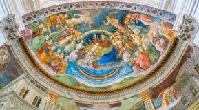 作壁画于的近星点Filippo利皮,在斯波莱托中央寺院  翁布里亚,中央意大利 免版税库存图片