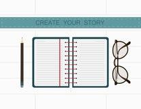 作家工作场所 创造您的故事在笔记 库存照片