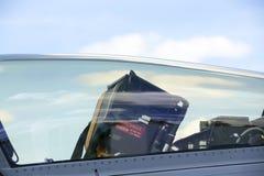 作战喷气式歼击机的驾驶舱与位子的 图库摄影