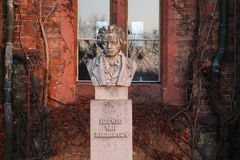 作曲家贝多芬胸象在红色城堡赫拉德茨nad MoravicÃ的 库存图片