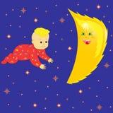在婴孩作梦的月亮 免版税库存照片