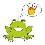 作梦关于冠的王子或公主青蛙 库存图片