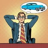作梦关于汽车的商人 向量例证